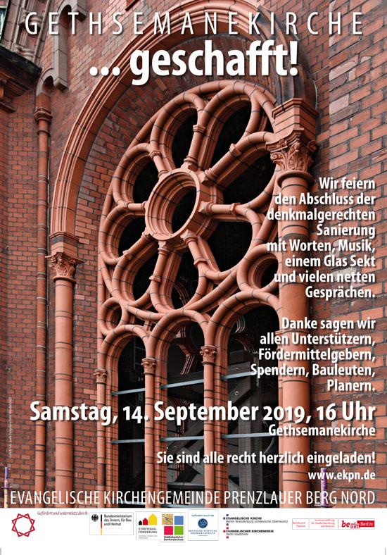 Sanierung der Gethsemanekirche – Festveranstaltung 14. September 2019 um 16 Uhr
