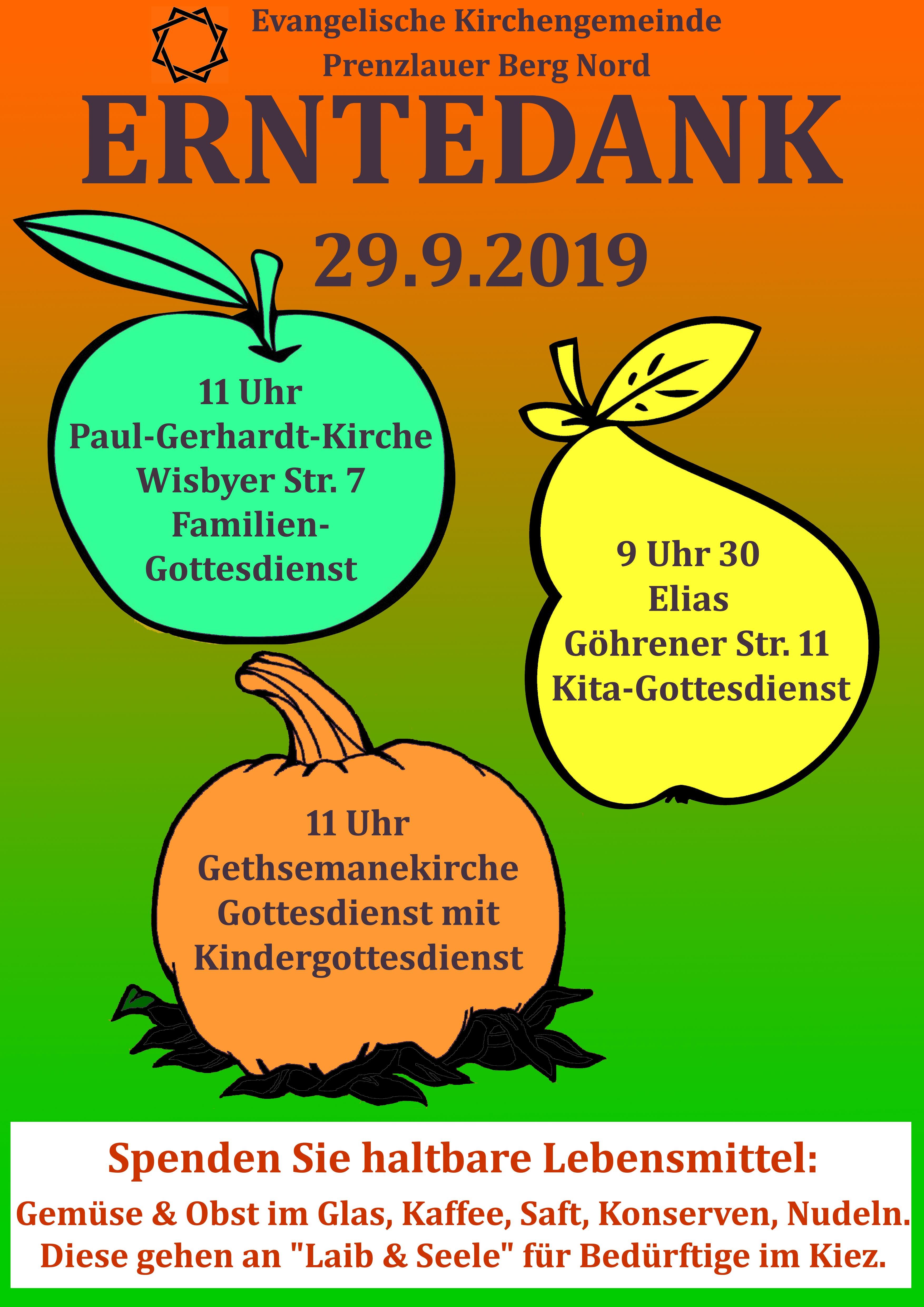 Erntedank am 29. September in Prenzlauer Berg Nord