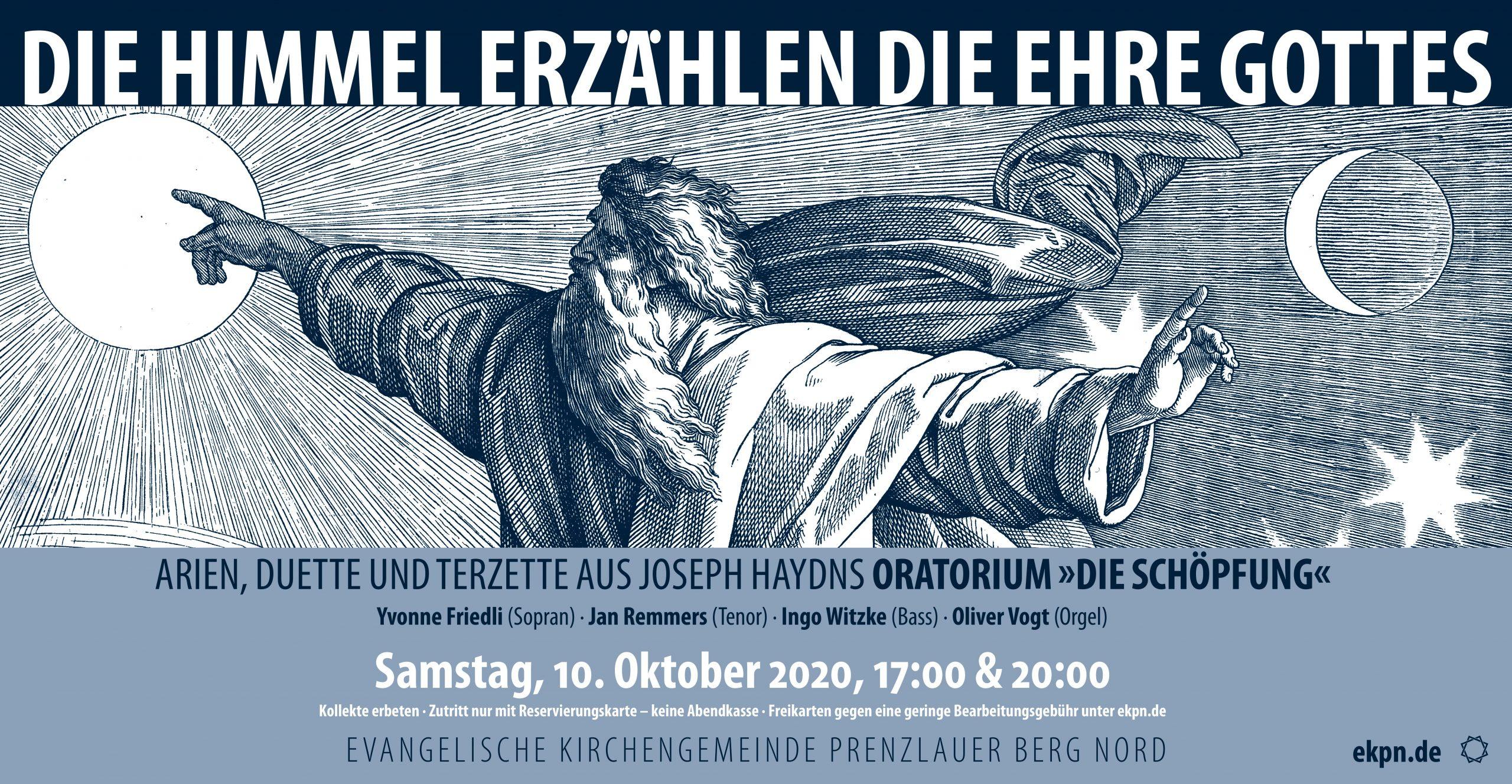 """10. Oktober – 17.00 und 20.00 Uhr – Konzert """"Die Himmel erzählen die Ehre Gottes"""""""
